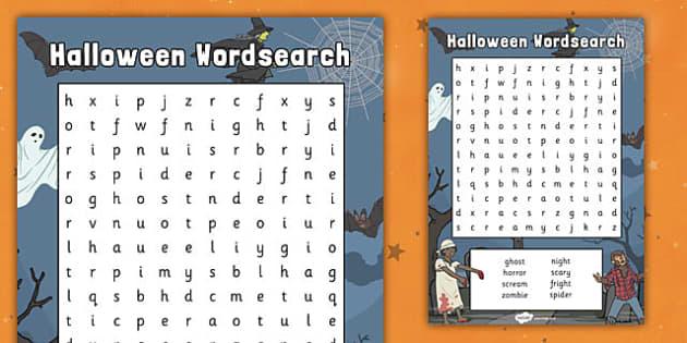 Halloween Wordsearch - halloween, wordsearch, halloween worksheet, word search, word activity, word, key words, word game, themed wordsearch, halloween words
