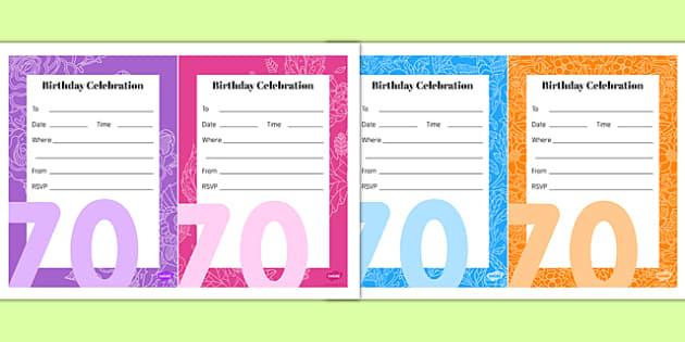 70th Birthday Party Invitations - 70th birthday party, 70th birthday, birthday party, invitations