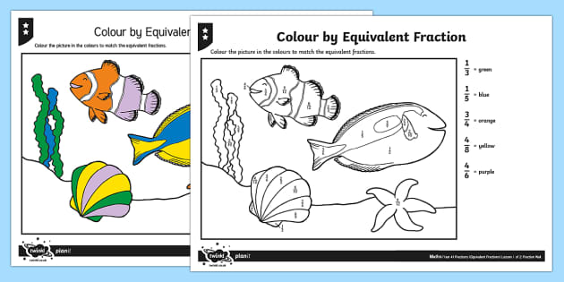 Colour by Equivalent Fraction Differentiated Activity Sheets