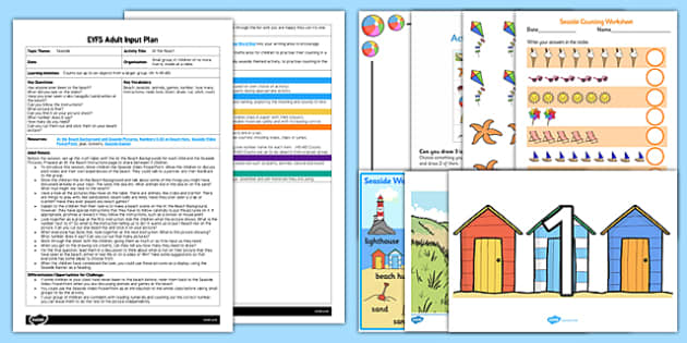 EYFS At the Beach Adult Input Plan and Resource Pack - Seaside, beach, count, counting, maths, early years, number, craft, collage, picture