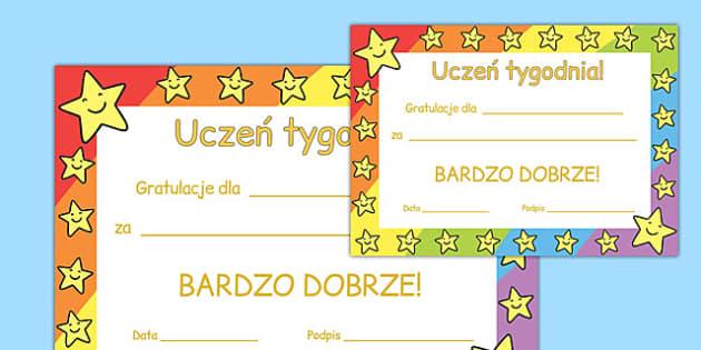 Star of the Week Award Certificate Polish - polish, star of the week, award, certificate
