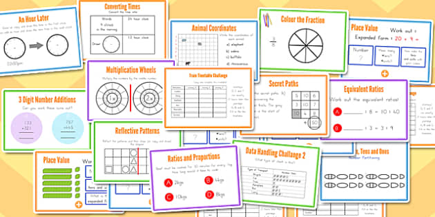150 KS2 Mixed Maths Challenge Cards Bumper Pack - australia