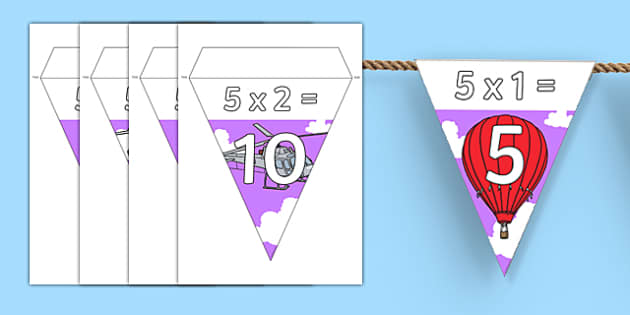 Transport Themed 5 Times Table Bunting - transport, 5 times table, bunting, display, times table