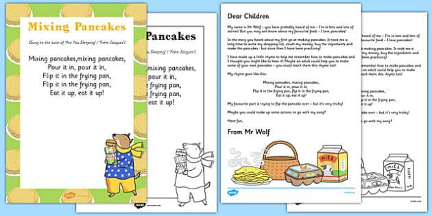 Mixing Pancakes Rhyme Resource Pack to Support Teaching on Mr Wolf's Pancakes - Pancake Day, Shrove Tuesday, song, rhyme, Mr Wolf's Pancakes, Jan Fearnley