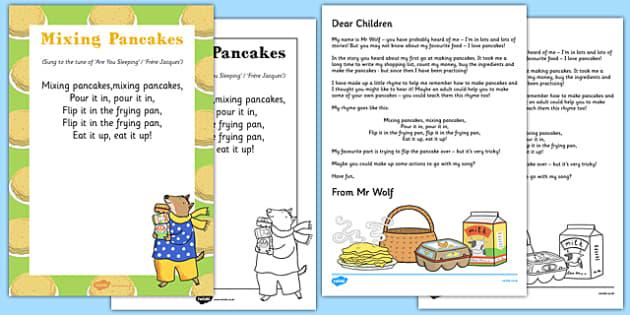 Mixing Pancakes Rhyme Resource Pack to Support Teaching on Mr Wolf's Pancakes - Pancake Day, Shrove Tuesday, song, rhyme, Mr Wolf's Pancakes, Jan Fearnley