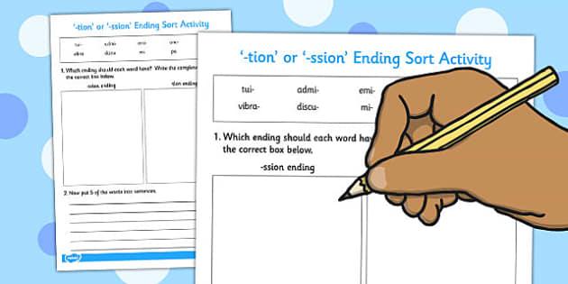 -tion' or '-ssion' Ending Sort Activity - ending, sort, activity