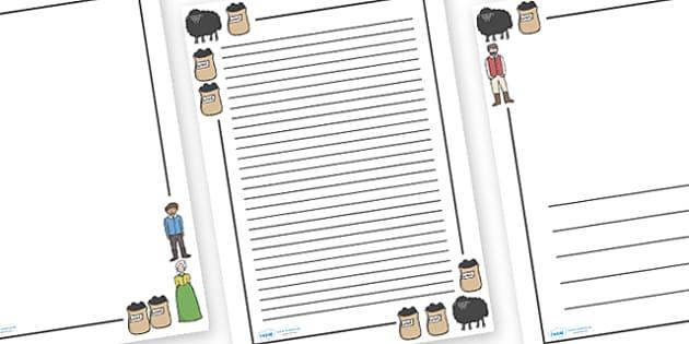 Baa Baa Black Sheep Page Borders - Baa Baa Black Sheep, nursery rhyme, rhyme, rhyming, nursery rhyme story, nursery rhymes, Baa Baa Black Sheep resources, master, dame