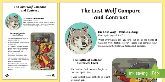 The Battle of Culloden Compare and Contrast-Scottish - CfE, novel study, Michael Morpurgo, The Last Wolf, reading activity, Battle of Culloden, comprehensi