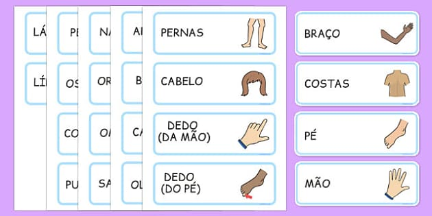 Parts of the Body Topic Words Portuguese - portuguese, parts, body, parts of the body, topic, words