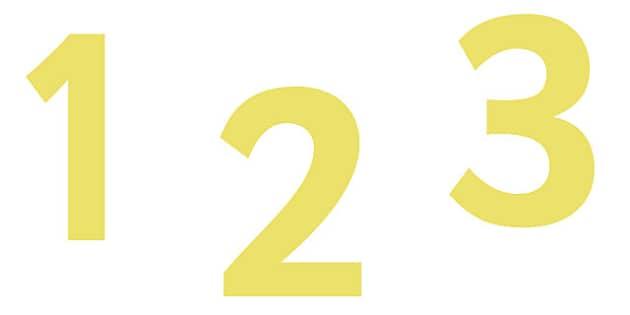 0-9 Display Numbers (Yellow) - Display numbers, 0-9, numbers, display numerals, display lettering, display numbers, display, cut out lettering, lettering for display, display numbers
