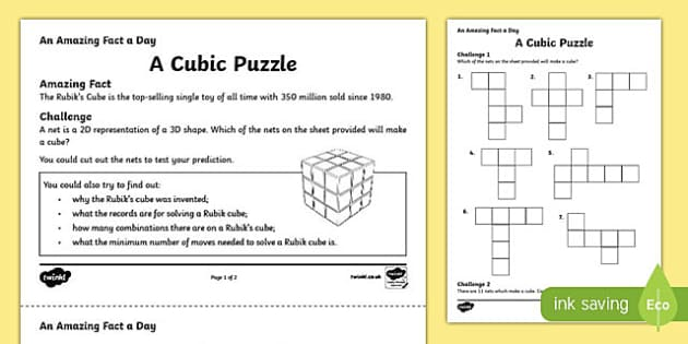 A Cubic Puzzle Activity Sheet, worksheet