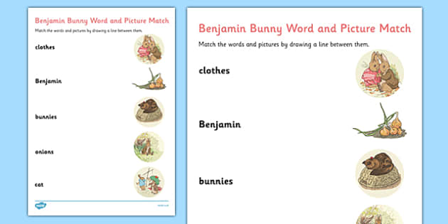 Beatrix Potter - The Tale of Benjamin Bunny Word and Picture Match - beatrix potter, benjamin bunny