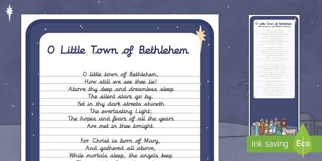 O Little Town of Bethlehem Carol Handwriting Practice Activity - Christmas, Nativity, Jesus, xmas, Xmas, Father Christmas, Santa, St Nic, Saint Nicholas, traditions