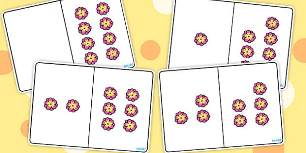 Pink Flower Counting Number Bonds to 8 - numbers, count, numeracy
