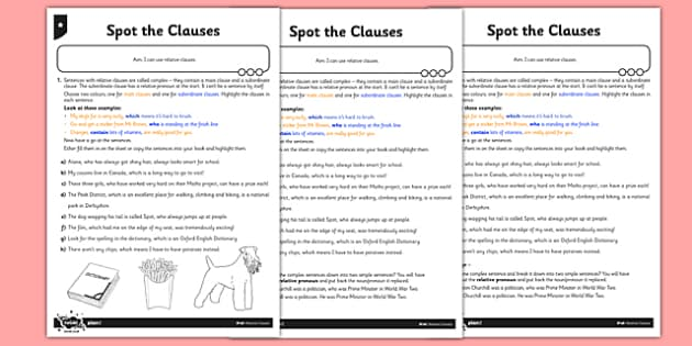 Spot the Clauses Differentiated Activity Sheet Pack - GPS, spelling, grammar, clause, worksheet