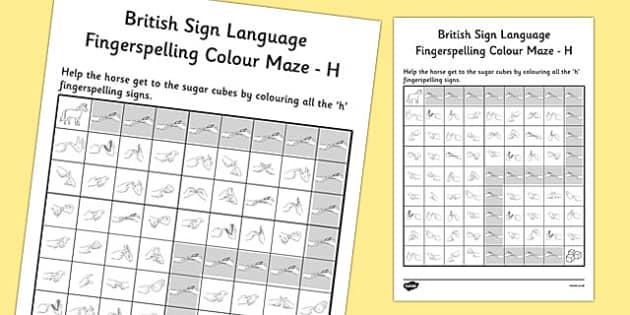 British Sign Language Fingerspelling Colour Maze H - colour, maze