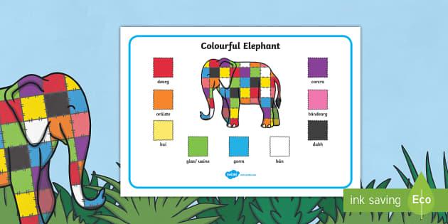 Elmer Colour Word Mat Gaeilge - gaeilge, elmer, colour, word mat, word, mat