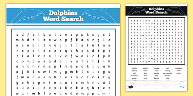 Australian Animals Years 3-6 Dolphins Word Search - australia, Australian Curriculum, animals, mammals, dolphins, activity, wordsearch