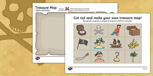 Treasure Map Activity Romanian Translation - romanian, Worksheets, Pirate, Pirates, Topic, cutting, fine motor skills, activity, pirate, pirates, treasure, ship, jolly roger, ship, island, ocean