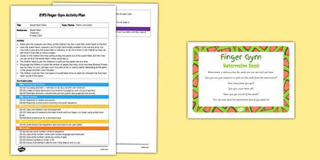Watermelon Seed Finger Gym Activity Plan and Resource Pack - tweezers, food