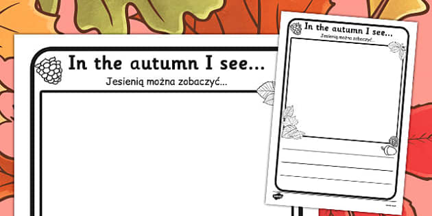 In the Autumn I See Writing Frame Polish Translation - polish