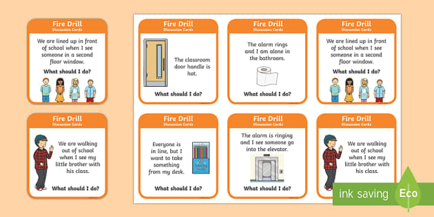 Fire Drill Question Cards - Beginning of School Resources, back to school, fire, drill, fire drill, emergency, discussion, group