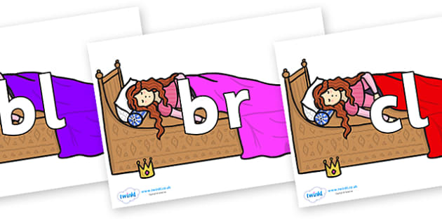 Initial Letter Blends on Sleeping Beauty Bed - Initial Letters, initial letter, letter blend, letter blends, consonant, consonants, digraph, trigraph, literacy, alphabet, letters, foundation stage literacy