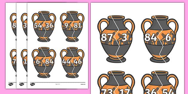 Number Bonds to 90 on Ancient Vases - number bonds, history number bonds, number bonds on greek vases, number bonds to 90, ks2 number bonds, ks2 history