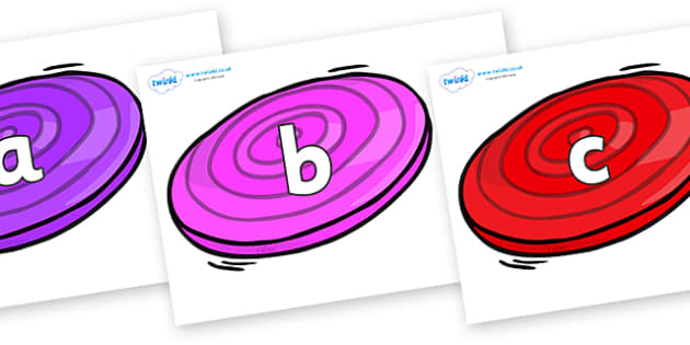 Phase 2 Phonemes on Frisbees - Phonemes, phoneme, Phase 2, Phase two, Foundation, Literacy, Letters and Sounds, DfES, display