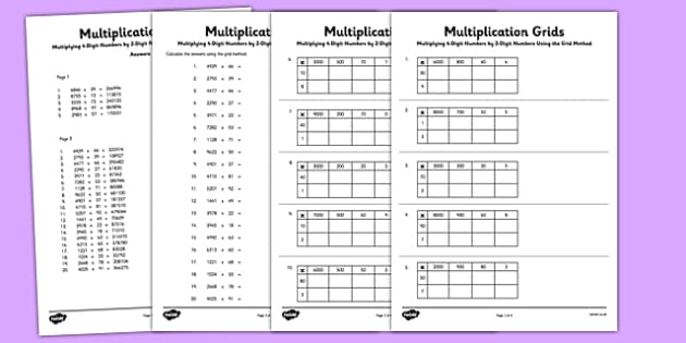 Multiplying 4Digit Numbers by 2 Digit Numbers Using Grid Method – Multiplication Using the Grid Method Worksheets