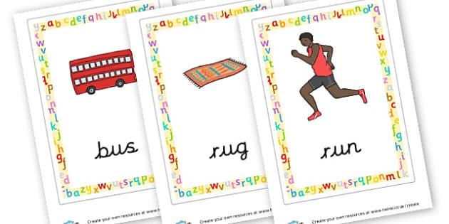 CVC Word Posters (u) - CVC Words Primary Resources, CVC, consonant, vowel, CVC word