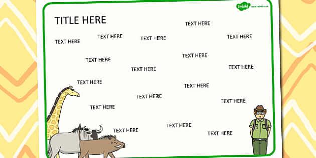 Safari Themed Editable Word Mat -  literacy, words, writing