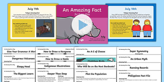 An Amazing Fact a Day July PowerPoint and  Activity Sheets Pack, worksheet