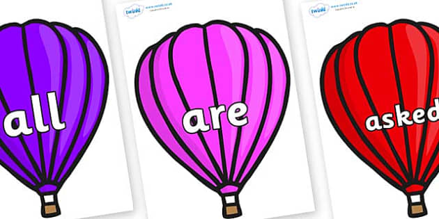 Tricky Words on Hot Air Balloons (Plain) - Tricky words, DfES Letters and Sounds, Letters and sounds, display, words