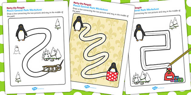 Monty the Penguin Pencil Control Path Worksheets - monty, penguin