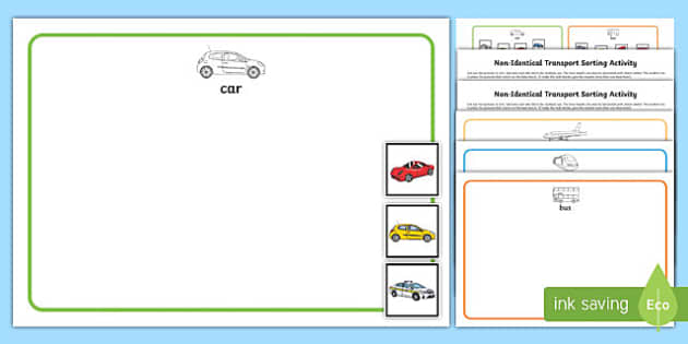 Workstation Pack: Non Identical Transport Sorting Activity Pack