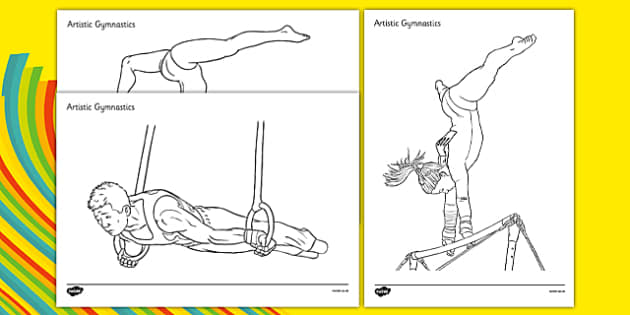 The Olympics Gymnastics Colouring Sheets - Gymnastics, Olympics, Olympic Games, sports, Olympic, London, 2012, colouring, fine motor skills, poster, worksheet, vines, A4, display, activity, Olympic torch, events, flag, countries, medal, Olympic Rings