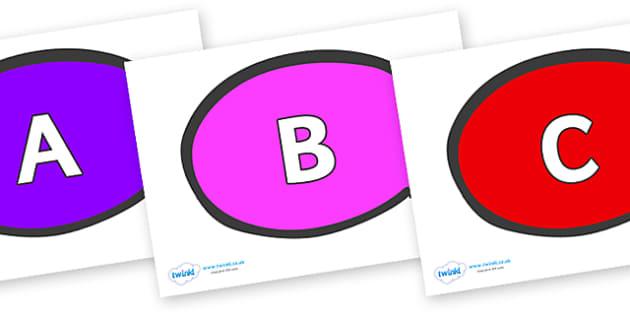 A-Z Alphabet on Speech Bubble - A-Z, A4, display, Alphabet frieze, Display letters, Letter posters, A-Z letters, Alphabet flashcards