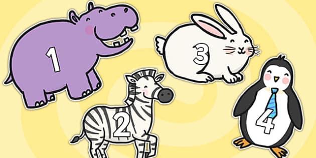 0-31 on Cute Animals - 0-31, animal, numbers, display, visual aid