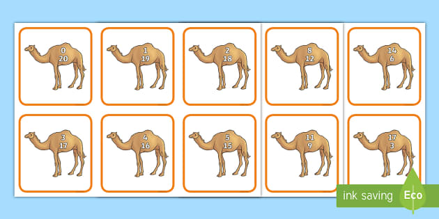 Camel Number Bonds to 20 Matching Cards - UAE Maths Resources, UAE maths, numbers to 20, numbers bonds to 20