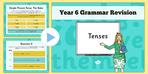 Year 6 Grammar Revision Guide and Quick Quiz Tenses PowerPoint