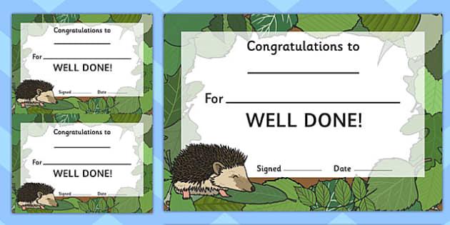 Woodland Hedgehog Certificate - award, rewards, animals, early years, KS1, ks2, key stage 1, key stage 2, praise