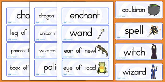 Magic Word Cards - halloween, magic, word cards, fantasy, halloween word cards, witches, spells, spell word cards, fantasy words, halloween prompt words