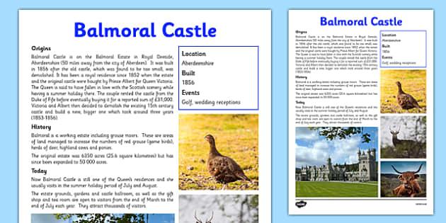 Balmoral Castle Information Sheet - First Level, Social Studies, Scottish history, Scottish Castles