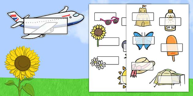 Editable Self Registration Labels (Summer) - Self registration, register, Summer, editable, labels, registration, child name label, printable labels, holidays, seasons, beach, sun, flowers, ice cream, sea, seaside