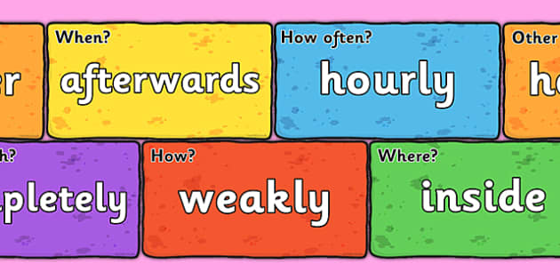 Adverbs on Bricks - adverbs, bricks, words, images, display, display bricks