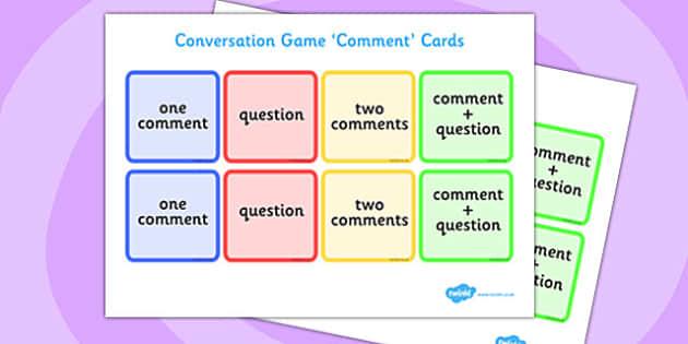 Conversation Game: Comment Cards - conversation game, comment