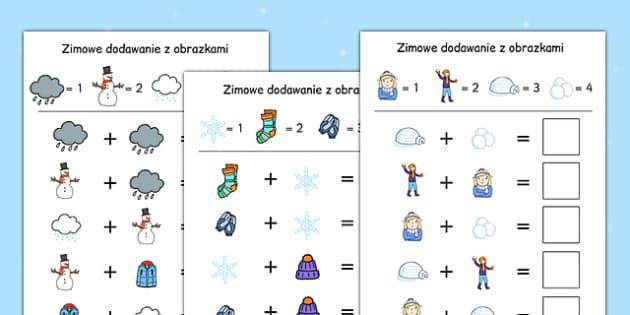 Arkusz Dodawanie i odejmowanie Zima po polsku - liczenie , worksheet