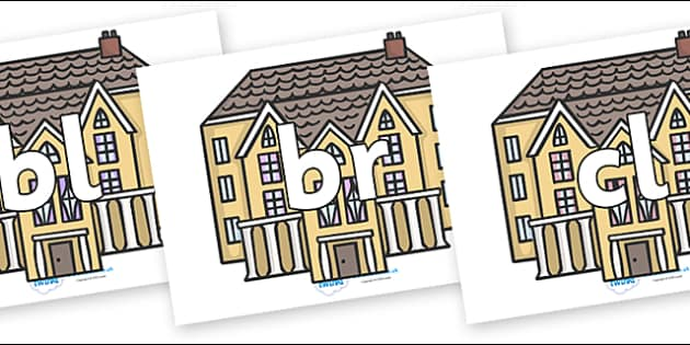 Initial Letter Blends on Houses - Initial Letters, initial letter, letter blend, letter blends, consonant, consonants, digraph, trigraph, literacy, alphabet, letters, foundation stage literacy