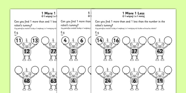 1 More 1 Less Robots Activity Sheet English/Polish